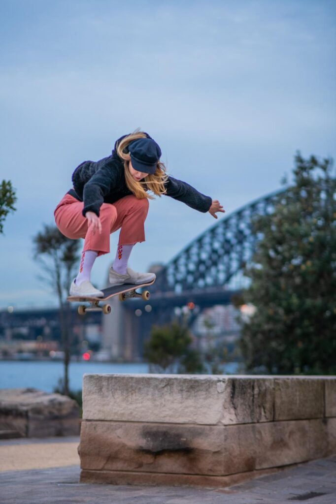 Skating Skateboarding, Sydney Harbour Bridge, Aimee Massie, Kickflip